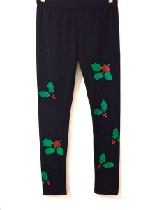 holly leggings, christmas themed pants, christmas clothing