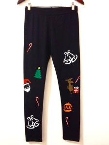 Christmas themed leggings, handmade, fun christmas pants